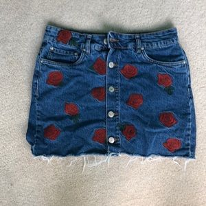embroidered rose denim skirt